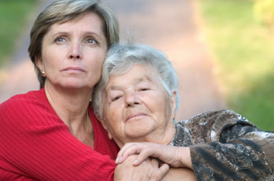 daughter concerned about elderly mom
